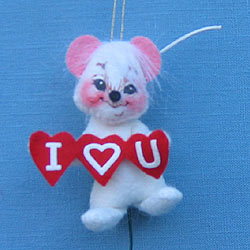 "Annalee 3"" I Luv U Mouse Pick / Ornament - Mint - 030502"
