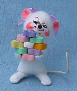 """Annalee 3"""" Stacked Full of Love Mouse - Mint - 033205ox"""