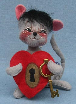 """Annalee 7"""" Key to My Heart Mouse - Mint - 034297sq"""