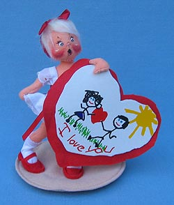 "Annalee 7"" Sweetheart Girl Holding Valentine - Ooh Mouth - Mint  - 039094ooh"