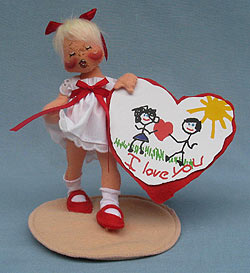 "Annalee 7"" Sweetheart Girl Holding Valentine - Closed Eyes - Mint - 039094xooh"