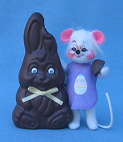"""Annalee 4"""" Chocolate Bunny Treat Mouse - Mint - 049806ox"""