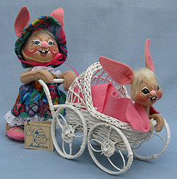 "Annalee 10"" Mother Bunny with 7"" Baby Bunny in Stroller - Mint - 066597"