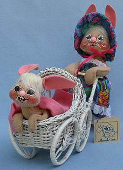 """Annalee 10"""" Mother Bunny with 7"""" Baby Bunny in Stroller -  Mint - 066597tong"""