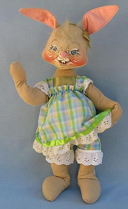 """Annalee 18"""" Country Girl Bunny with Basket - Mint  - 070585"""