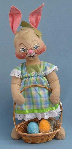 "Annalee 18"" Country Girl Bunny with Basket - Mint - 070585def"