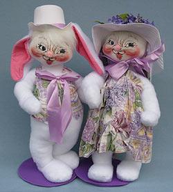 """Annalee 18"""" E.P. Boy & Girl Bunny - Martin / Muriel - Mint - 0715-0710-01"""