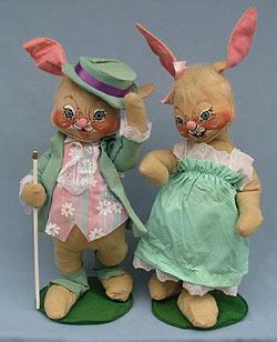 """Annalee 18"""" E.P. Boy & Girl Bunny - Very Good - 0715-0710-87a"""