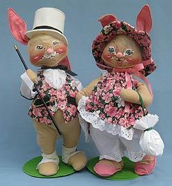 "Annalee 18"" E.P. Boy & Girl Bunny with Purse - Mint / Near Mint - 0715-0710-97"