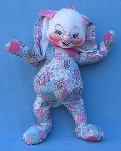"""Annalee 18"""" Patchwork Bunny - Good - 072699a"""