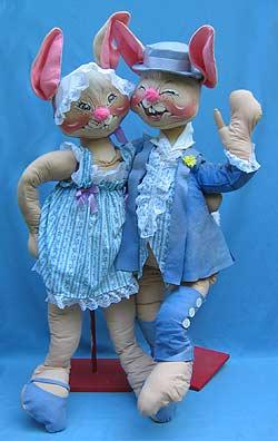 """Annalee 48"""" Easter Parade Boy & Girl Bunny - Very Good - 0910-0905-83a"""