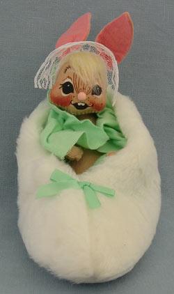 "Annalee 7"" Bunny in Slipper with Green Blanket - Mint / Near Mint - 092092"