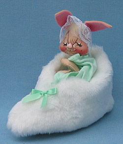"Annalee 7"" Bunny in Slipper with Green Blanket - Near Mint - 092092xx"