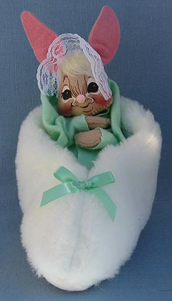 "Annalee 7"" Bunny in Slipper with Green Blanket - Mint -092092bew"