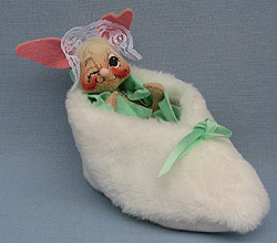 "Annalee 7"" Bunny in Slipper with Green Blanket - Mint - 092092w"