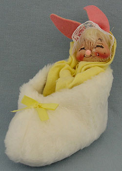"Annalee 7"" Bunny in Slipper with Yellow Blanket - Mint - 092592xx"