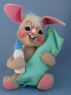 "Annalee 7"" Baby Bunny with Bottle - Mint - 093094"
