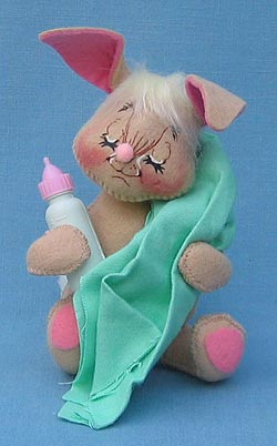 "Annalee 7"" Baby Bunny with Bottle - Mint - 093094xx"
