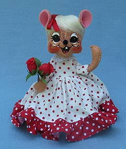 """Annalee 6"""" Sweetheart Girl Mouse Holding Roses - Mint - 100711"""