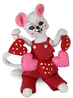 "Annalee 5"" String of Hearts Mouse 2020 - Mint - 110620"