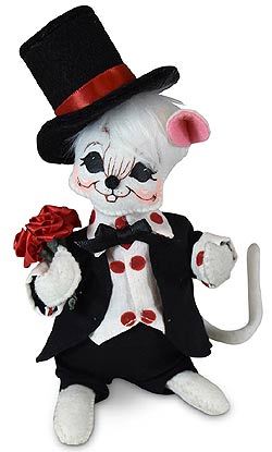 """Annalee 6"""" Sweetheart Boy Mouse with Roses 2020 - Mint - 110820"""