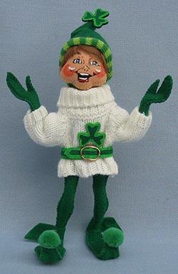 "Annalee 9"" St. Patrick's Elf in Sweater 2017 - Mint - 150817"