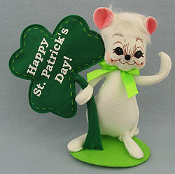 """Annalee 8"""" Happy St. Patrick's Day Shamrock Mouse 2013 - Mint - 151013ox"""