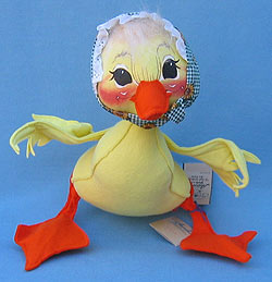 """Annalee 12"""" Yellow Mother Duck with Green Check Kerchief - Mint - 155096"""