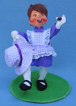 """Annalee 7"""" Easter Spring Girl with Ladybug - Mint - 159998"""