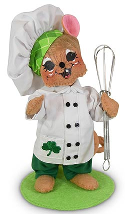 "Annalee 6"" Shamrock Chef Mouse with Wisk 2020 - Mint - 160320"