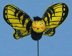 """Annalee 3"""" Yellow Butterfly Pick - Mint - 181702"""