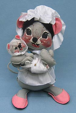 """Annalee 12"""" Mother Mouse with Baby - Near Mint - 196487"""