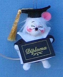 """Annalee 3"""" Graduate Mouse Ornament - Mint - 198904xx"""