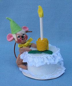 """Annalee 3"""" Birthday Mouse with Green Conical Hat - Mint - 199196"""