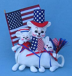 """Annalee 9"""" Stars and Stripes Patriotic Bunch of Mice - Mint - 200006"""