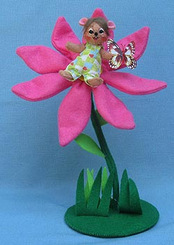 """Annalee 3"""" Mouse on 10"""" Spring Blossom Flower - Mint - 200312"""