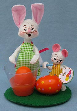 """Annalee 6"""" Egg Painting Bunny and Mouse Pals - Mint - 200410"""