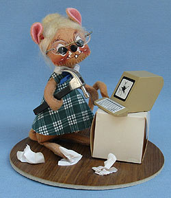 """Annalee 7"""" Secretary Mouse with Computer - Mint / Near Mint - 201291oxt"""