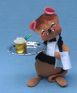 """Annalee 7"""" Waiter Mouse New Years - Mint / Near Mint - 201791"""