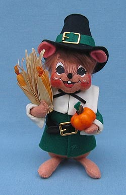 "Annalee 6"" Pilgrim Boy Mouse in Green - Mint - 203007"
