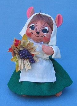 "Annalee 6"" Pilgrim Girl Mouse in Green - Mint - 203107"
