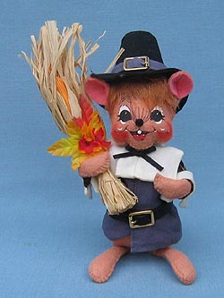 "Annalee 6"" Pilgrim Boy Mouse in Blue - Mint / Near Mint - 203207"