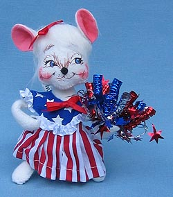 "Annalee 7"" Patriotic Girl Mouse - Mint - 203303ox"