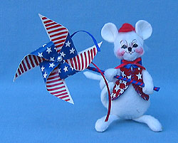 "Annalee 4"" Patriotic Boy Mouse with Pinwheel - Mint - 203606oxt"