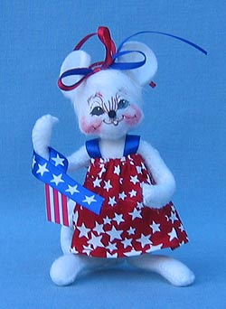 """Annalee 4"""" Patriotic Girl Mouse - Mint - 204106oxt"""