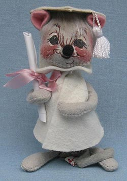 "Annalee 7"" Graduation Mouse in White - Near Mint - 209580bew"