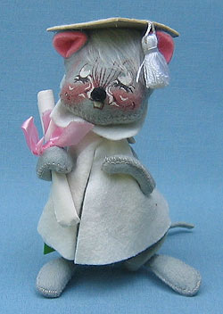"""Annalee 7"""" Graduation Mouse in White - Mint - 209580x"""