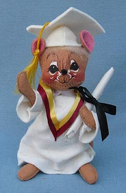 "Annalee 7"" Graduation Mouse in White - Mint  - 209595"