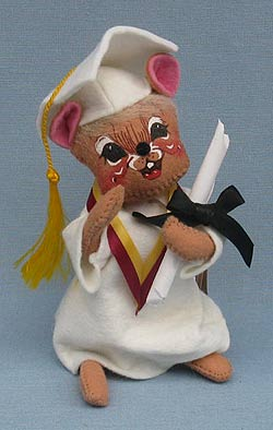 "Annalee 7"" Graduation Mouse in White - Mint - 209595def"