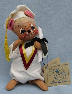 """Annalee 7"""" Graduation Mouse in White - Mint  - 209595oxt"""